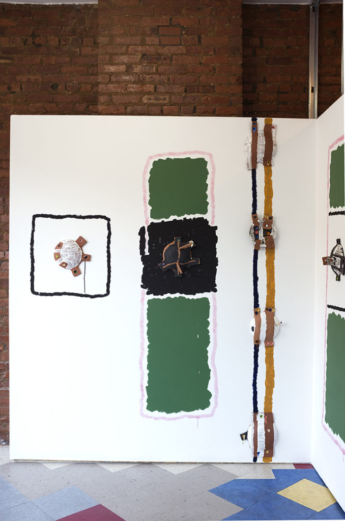 Installation View of Start, Black Stick, Double Stripe