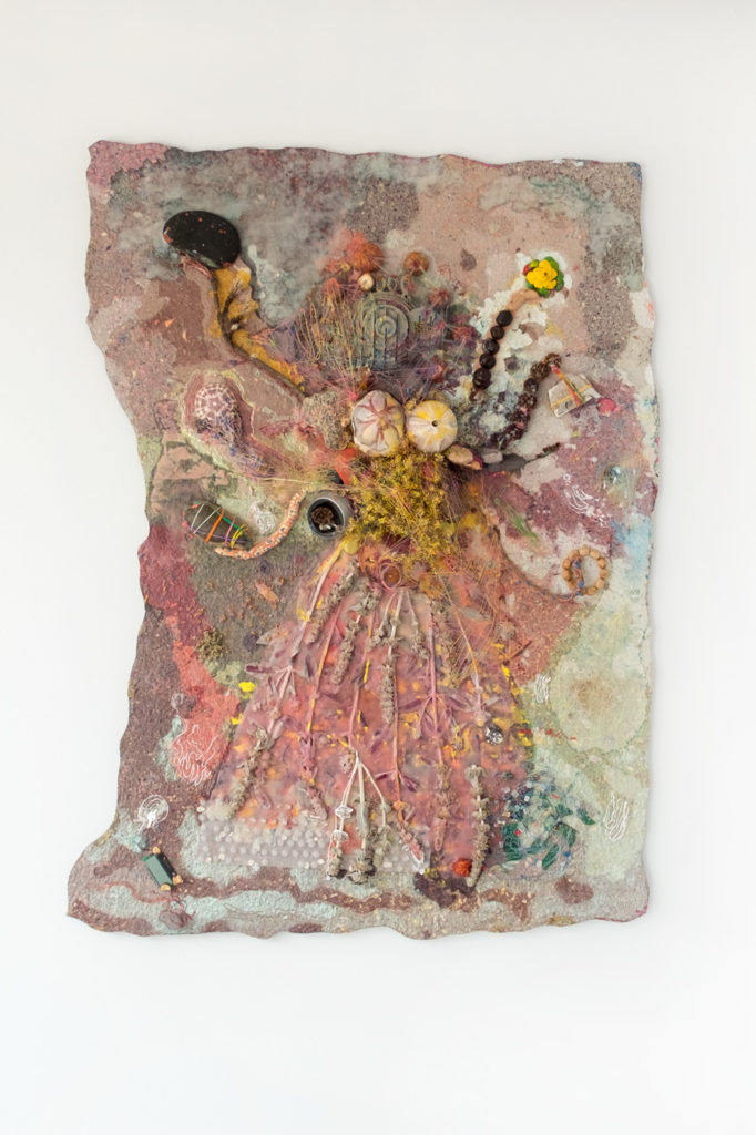 <i>Dance of the Goddess Maya</i>, 2017. Mixed media on panel