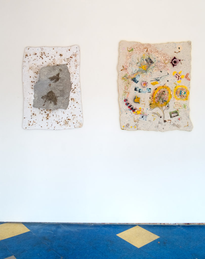 Left: <i>Waiting, Arising</i>, 2017. Materials: paper, cherry flowers, dust bunnies, linen, peppers, pampas grass, spray paint, plywood. Right: <i>Alchemy of Mood and Matter</i>, 2017. Materials: paper, maple seeds, pictures from a math book, air-dry clay sculptures, lambs ear, pine cone wings, hot glue, cat prints, chest nuts, acrylic paint, linen, plywood
